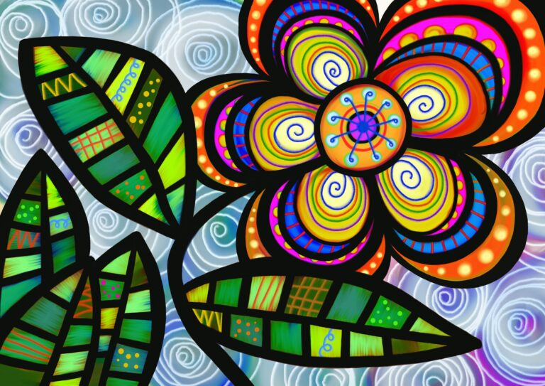 Folk Art Daisy Flower