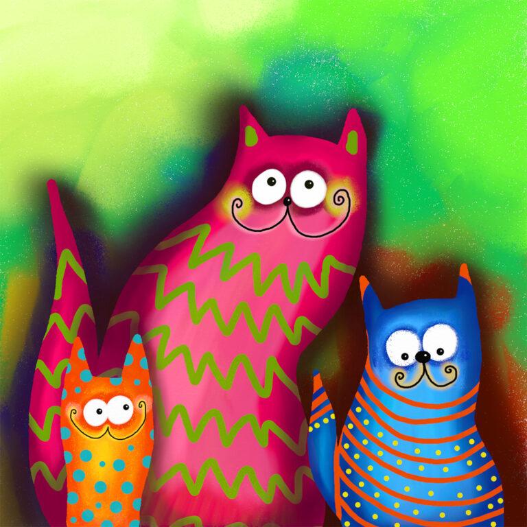Funny Cat Family